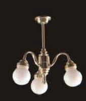 Chandelier white glass globe arm 3 LT 6010