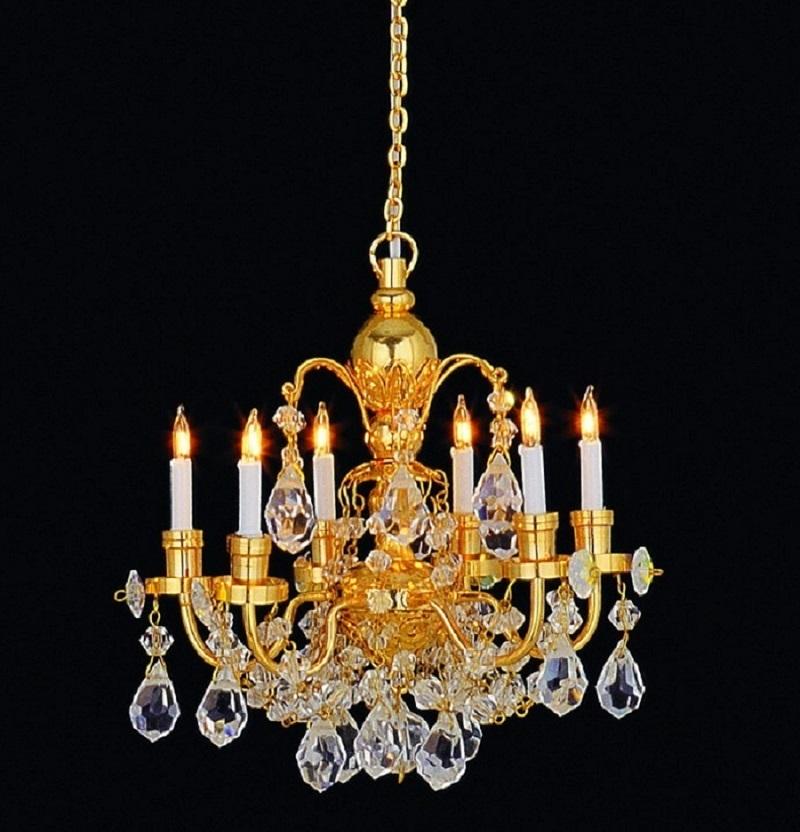 Real Crystal 6 Arm Chandelier Lt 7001b Dolls House Lighting