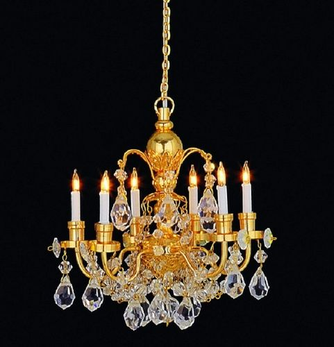 Real crystal 6 arm chandelier gold finish LT 7010B