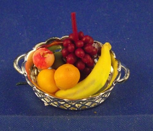 Metal bowl with fruit
