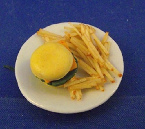 Plate with chess burger and chips