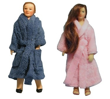Man in bath robe DP 130 and Lady in Bath robe DP 129