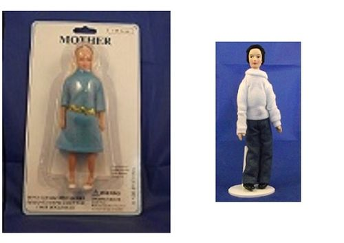 Mother and Modern Man in Sweater with stand