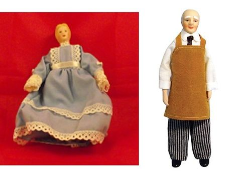 Lady dress and Shopkeeper / Handyman on stand