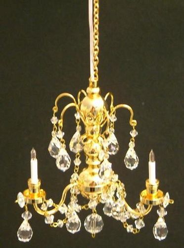 Crystal 3 Arm Chandelier Gold Finish LT 7002B