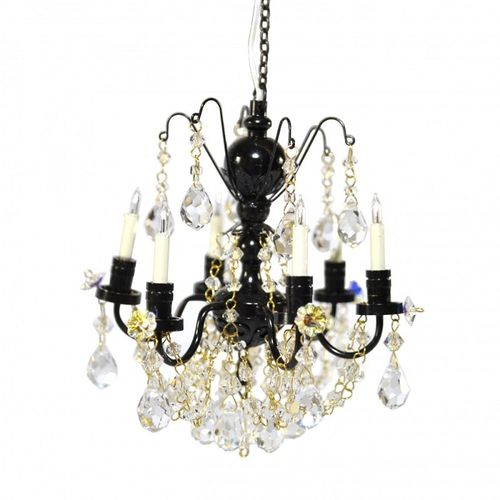 Real crystal  Black 6 arm chandelier LT 7001BLK